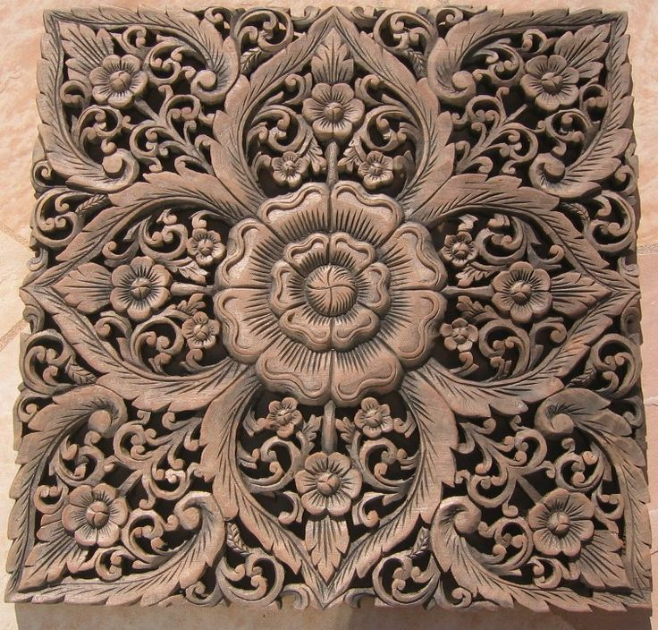 Thai Teak Wood Carving Panels | x2' Teak Wood Panel Java Finish ID:wpswp409