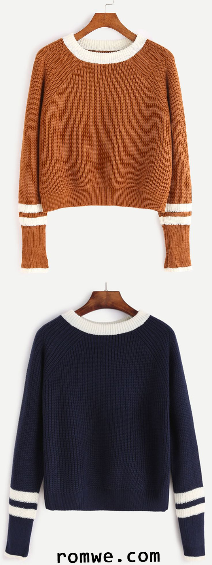 Contrast Neck Striped Trim Sweater
