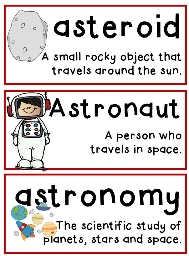 Space unit, includes vocabulary essential for understanding.