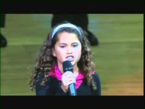 9 year old sings our National Anthem at a basketball game - amazing voice!