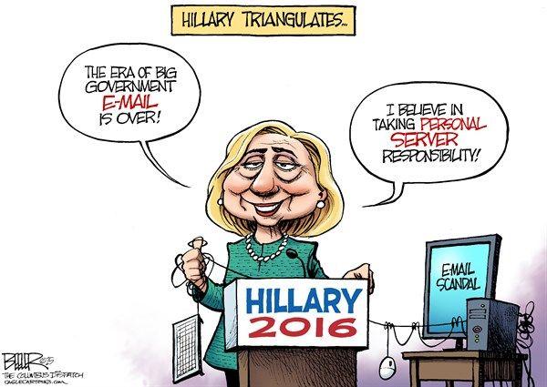 Clinton Triangulation © Nate Beeler,The Columbus Dispatch 3/9/15