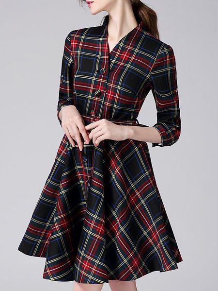 VIVA VENA Buttoned plaid printed Shirt Dress