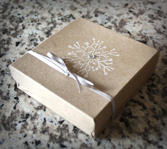 Winter Wedding Favor Ideas Pinterest : Winter Wedding Gift Box Snowflake Neutral @ShannaMicheleDesigns, USD 3 ...