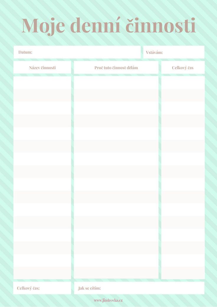 Stáhněte si ZDARMA seznam denních činností a zjistěte, kolik času nad čím trávíte. Pak si své zkoumání zhodnoťte a zrušte všechno, co vám nepřináší hodnotu.  Motivační projekt - Plníme si sny s Jindrovkou www.jindrovka.cz