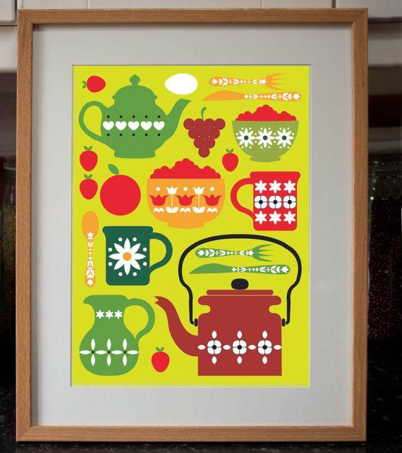 Retro Kitchen Shelves Art Print By Natalie Singh: 81 Best My Dream Vintage Kitchen Images On Pinterest