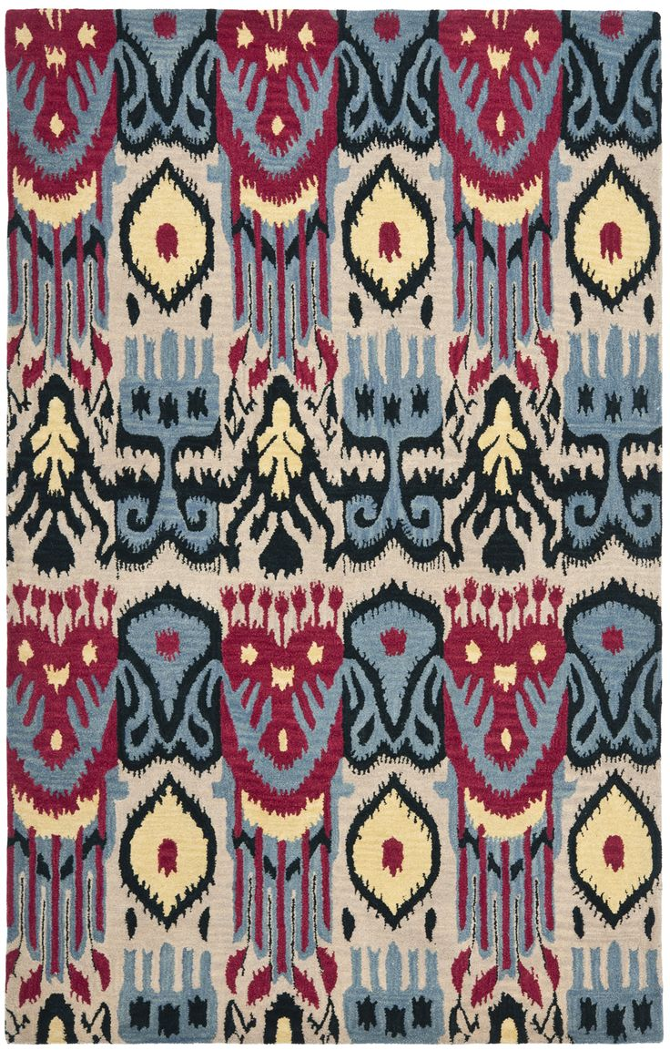 safavieh handmade ikat beige blue wool rug x overstock shopping great deals on safavieh rugs