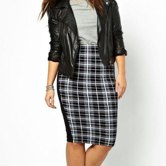 ASOS Curve Skirt Plaid Black, Grey, & White ASOS Curve Skirt...NWOT...black side panels...very stretchy...UK20/US16 ASOS Curve Skirts Midi