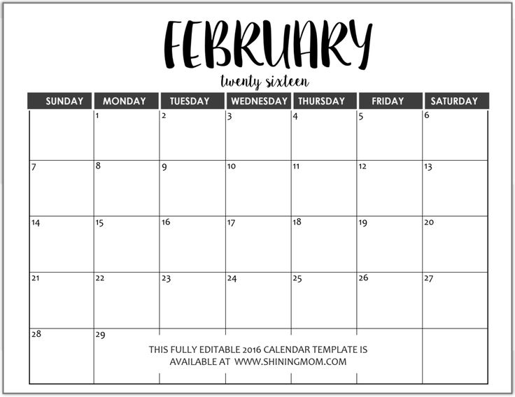 fully editable February 2016 calendar in MS Word