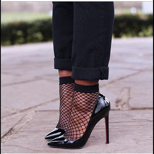 Louboutins with fishnet ankle socks. I absolutely adore this look! x