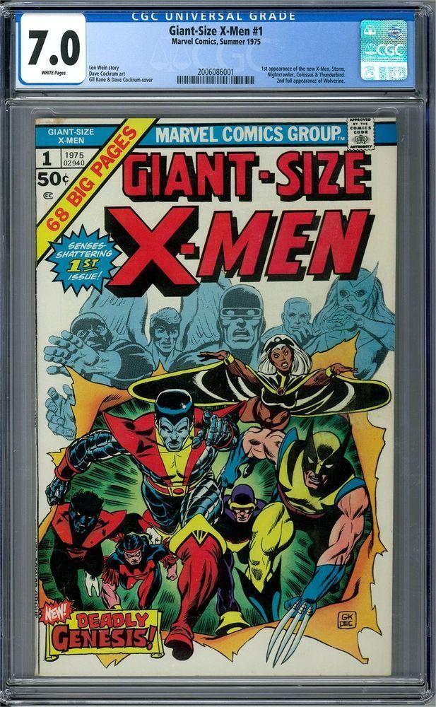 Giant Size X Men 1 Cgc 7 0 W 1st Nightcrawler 1st Colossus 1st Storm Marvel Comic Books X Men Comics