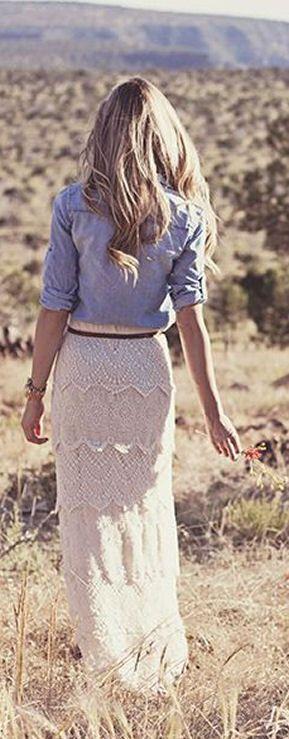 Lace Maxi Skirt  Chambray Blouse