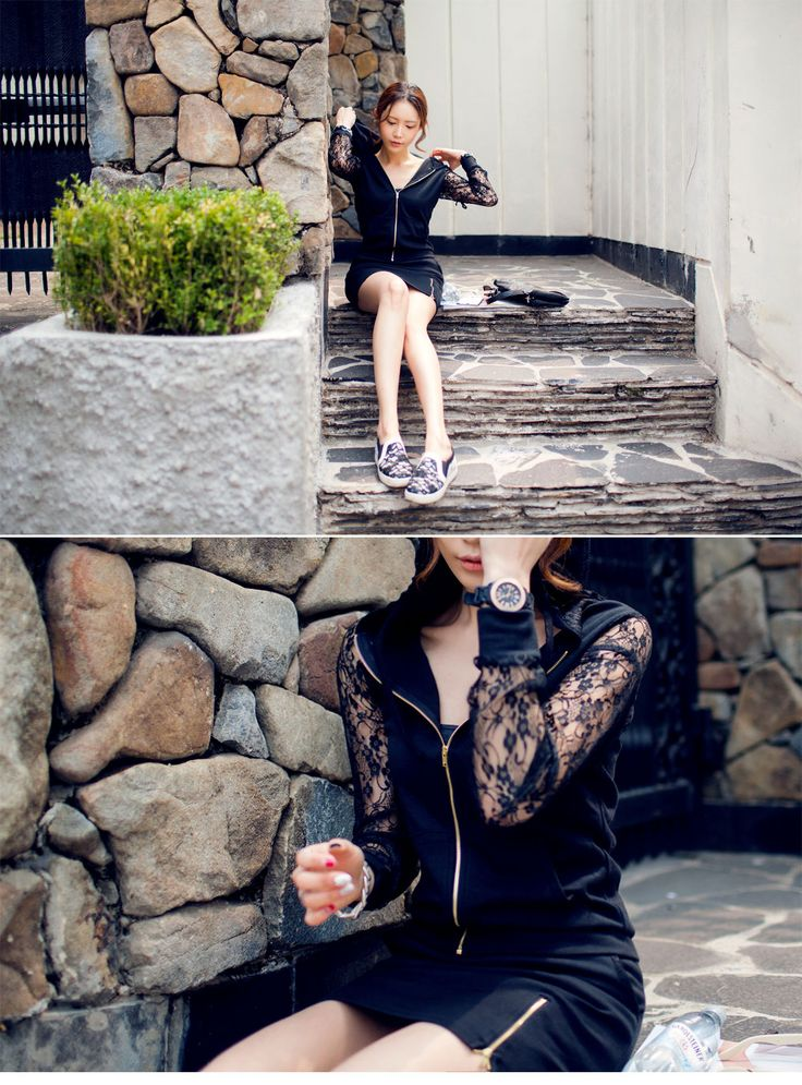 White & Black Lace hoody training top and mini-skirts  #sthsweet #somethingsweet #Lacedress