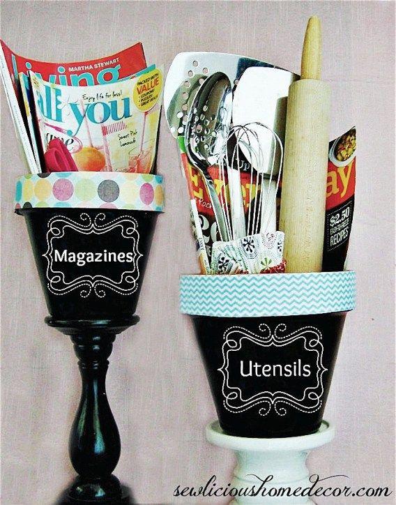 DIY Organized Chalkboard Flower Pot Organization