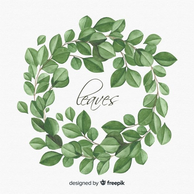 Watercolor Natural Background With Leaves Free Vector Free