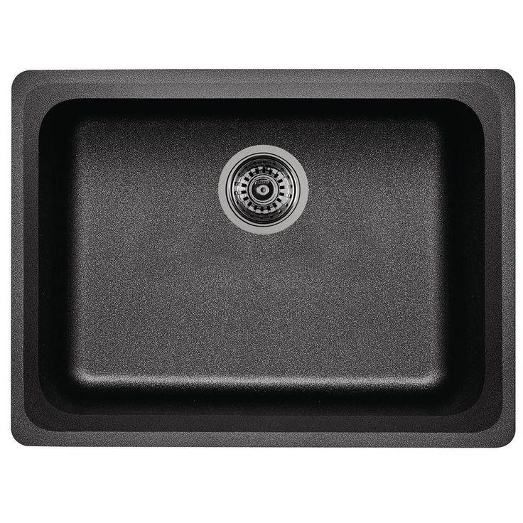 Vision Undermount Granite Composite 24 in. Single Bowl Kitchen Sink in Anthracite (Grey)