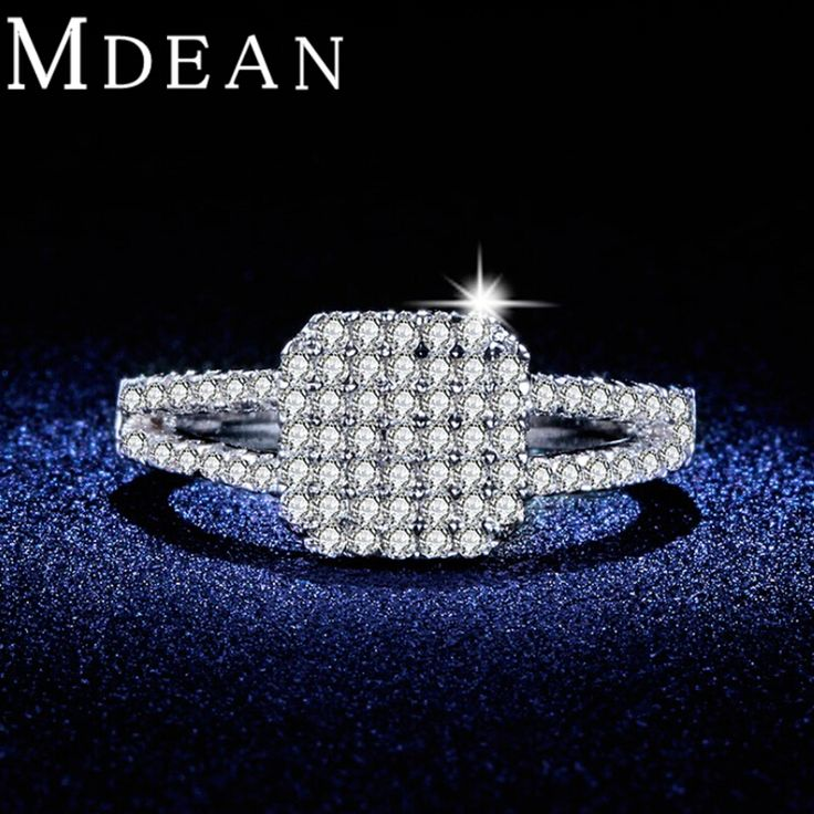 MDEAN Micro Pave AAA Zircon Party Rings White Gold plated engagement fashion Jewelry square design Bague For Women bijoux MSR335