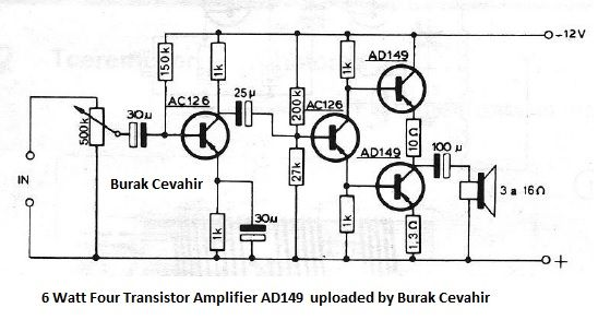 6 watt four transistor amplifier ad149