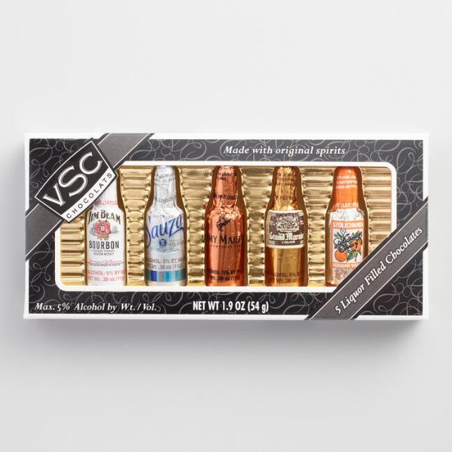 VSC Liquor-Filled Chocolates Bottles Box, 5-Count