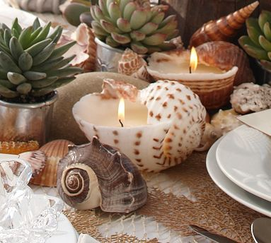 Sea shell candles from pottery barn- I like these for wedding favors or decor