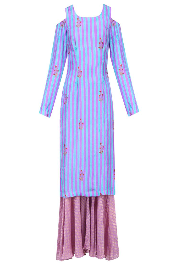 Purple striped cold shoulder kurta set with sharara pants available only at Pernia's Pop Up Shop.