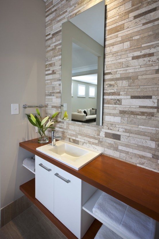Feature tile wall in powder room