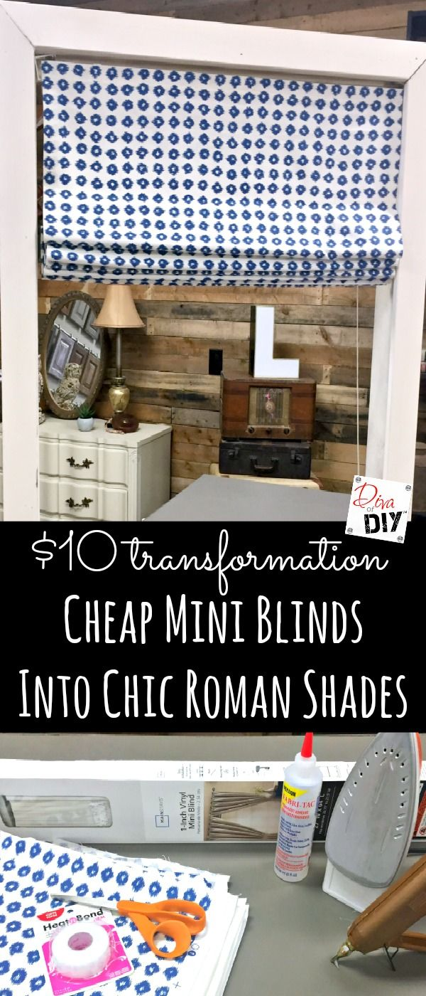 Who says a fabric window treatment has to be expensive! Make these mini blinds into DIY roman shades. It's an easy project no sew window treatment project!                                                                                                                                                                                 More