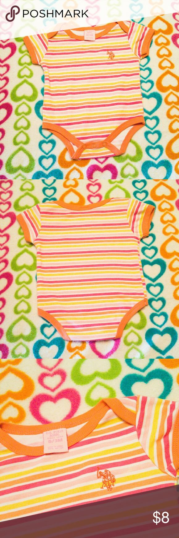 U.S. POLO ASSN. Baby Girl Onsie It is a U.S. POLO ASSN. Onsie with pink, yellow orange pinstripes with orange trim on the neckline, arm and leg cuffs. It is absolutely cute and has a pink Polo rider on the top right side! It is also in new-like condition! From shoulder to bottom is 13 inches! And is 100% cotton! U.S. Polo Assn. One Pieces Bodysuits