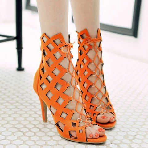 High Heel Caged Sandals - ORANGE RED 39