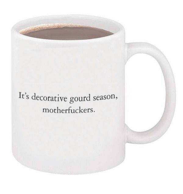 """If you're looking for a beautiful fucking ceramic vessel to transport 11 oz. of hot liquid to your mouth, then you're in fucking luck. Because for $ plus fucking shipping, you can own the mug that not only says, """"I love fucking fall,"""" but also, """"I love warm fucking beverages."""""""
