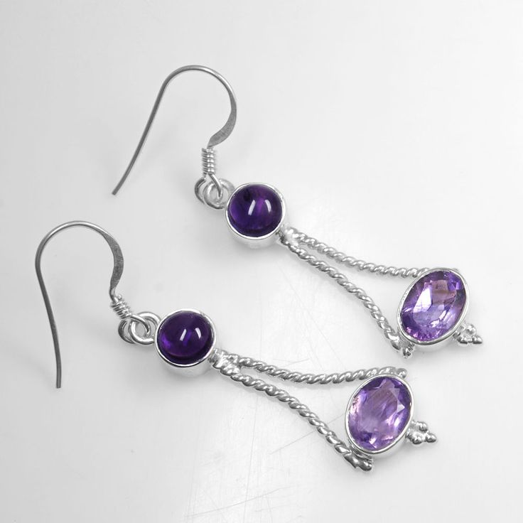 925 Sterling Silver Top Oval Round Amethyst Girls Earrings Pair Jewelry svr1150 #Unbranded