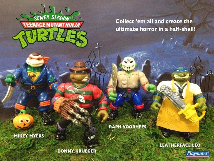 Classic TMNT Ninja Turtles Action Figures Custom Made into Horror Movie Line