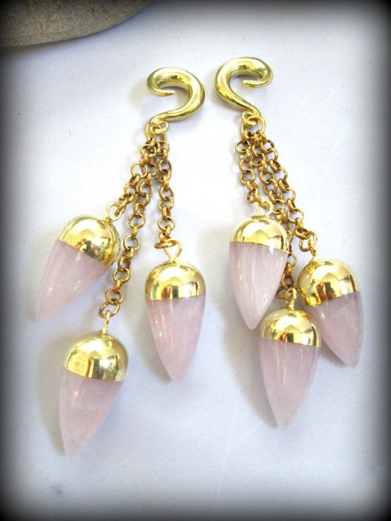 stone ear weights,brass saddle hooks,ear weights Rose quartz ear Weights