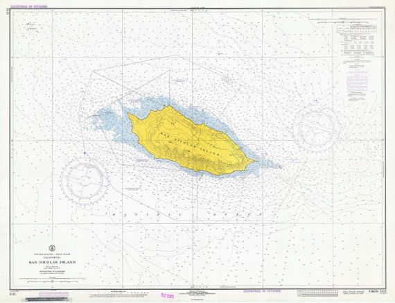 This Old Nautical Chart Of San Nicolas Island From 1972 Shows Nautical And Topographical Features