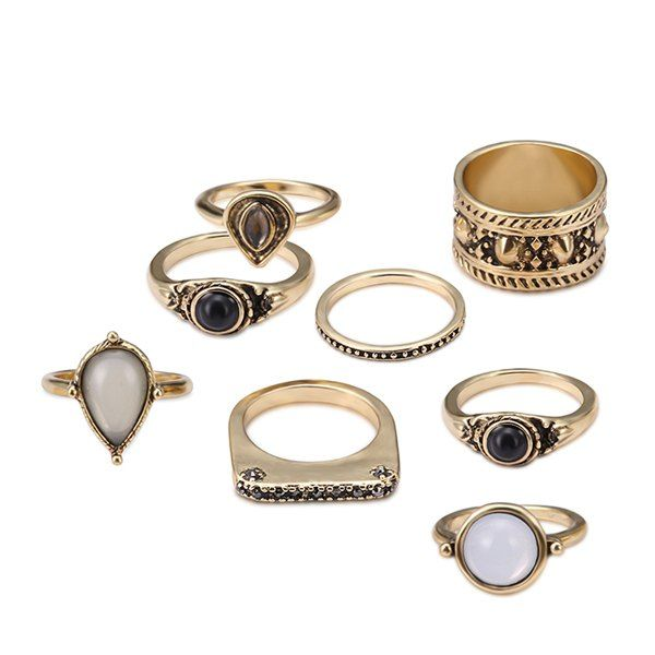 $4.19 Faux Gem Teardrop Gypsy Ring Set - Golden