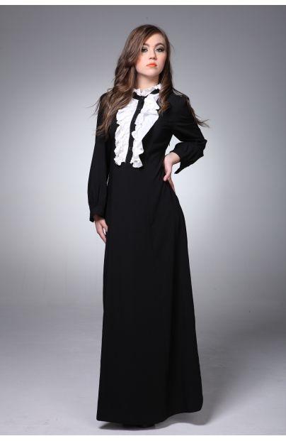 Black and white ruffle abaya