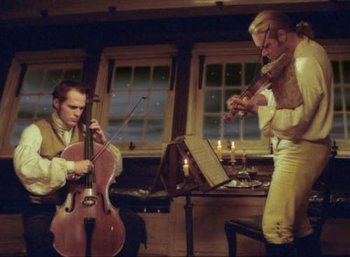 "Master & Commander --- The music played on cello before the end is Luigi Boccherini's String Quintet (Quintettino) for 2 violins, viola & 2 cellos in C major (""Musica notturna delle strade di Madrid""), G. 324 Op. 30. *** I liked the way that the actors held their instruments as though the violin were a ukelele and cello were a guitar. The music is enchanting.:"