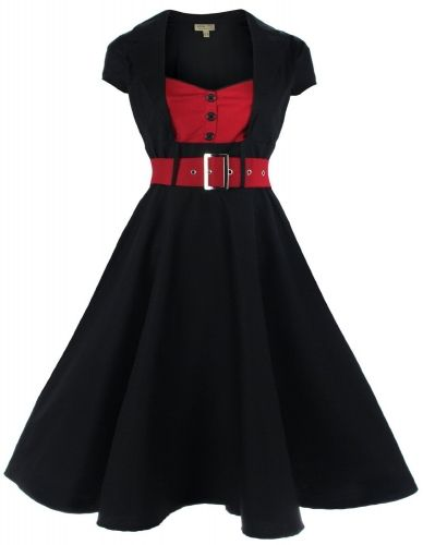 1950's Black Red Collared Swing Dress