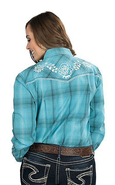 Wired Heart Women's Turquoise Plaid with Turquoise Floral Embroidery Long Sleeve Western Shirt | Cavender's