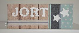 Naambordje voor aan de slaapkamerdeur. #naambord #kinderkamer #meisje #jongen #mint #steigerhout