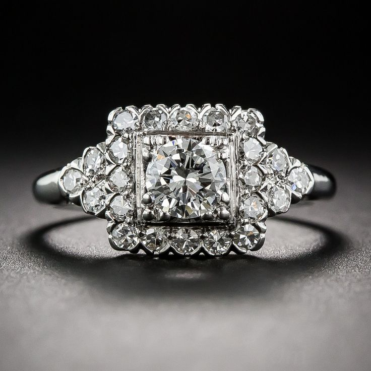 Mid-Century Platinum and Diamond Engagement Ring - 10-1-6427 - Lang Antiques