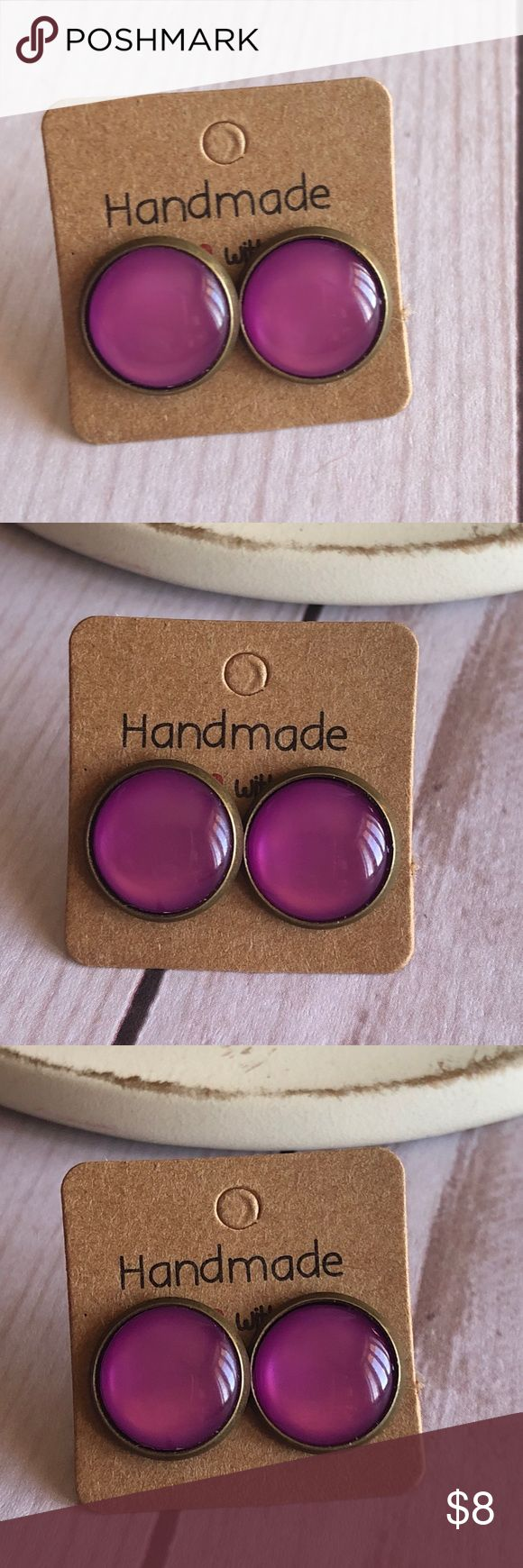 """🆕Purple Cats Eye Stone Copper Stud Earrings! New, Handmade by Me! Beautiful Purple Cat's Eye Stone in a Copper Post Back Style; Approx. 12mm or 1/2"""" Size; Many Beautiful Cats Eye Stones Listed; Can make in any style Back, Please just Leave Message & Ask! 📸These are MY pic's of actual items you will receive!  ▶️1 For $8, 2 For $13, 3 For $15!◀️  ▪️3-$15 is only for items listed as such▪️ ▪️Post Back for Pierced Ears ▪️Nickel, Lead & Cadmium Free  *NO TRADES *Price is FIRM as Listed!  *Sales…"""
