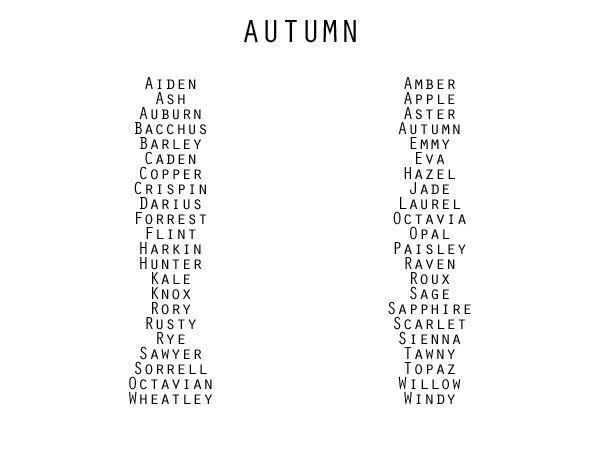 "modernhepburn: ""Seasonal Inspired Names """