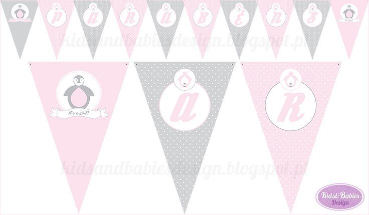 Kids&Babies: Party Printables :: Baby Shower Pinguim - bandeirolas de parede