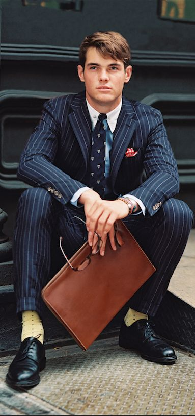 Unexpected flair: A few touches of color added to a classically tailored Polo Ralph Lauren suit