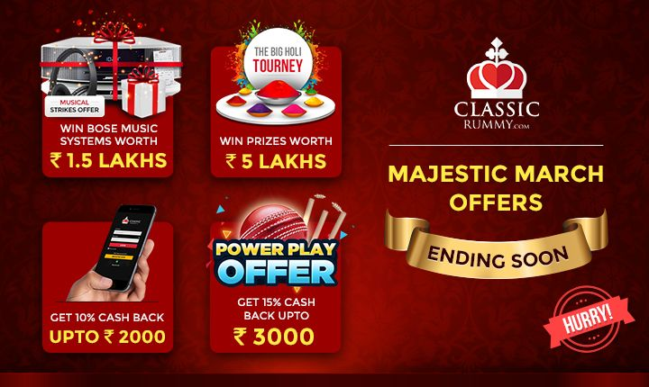 Majestic March offers ending soon. Hurry!    #rummy #classicrummy #onlinerummy #indianrummy #cardgames #rummycards #marchoffers #march
