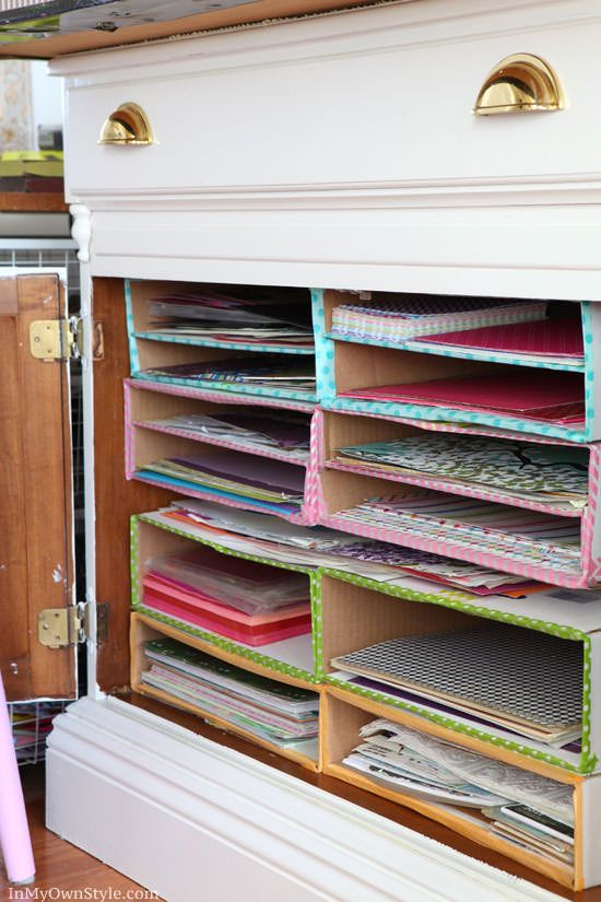 Diane from 'In My Own Style' made this scrapbook paper organizer for her craft room out of boxes, but this is a project that could be used for office organization as well. Easy, fast, cheap! Love!