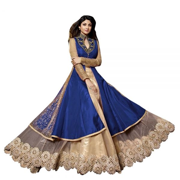 Buy Blue & Beige Semi Stitched Georgette Lehenga Suit Salwar Kameez Online at cheap prices from Shopkio.com: India`s best online shoping site