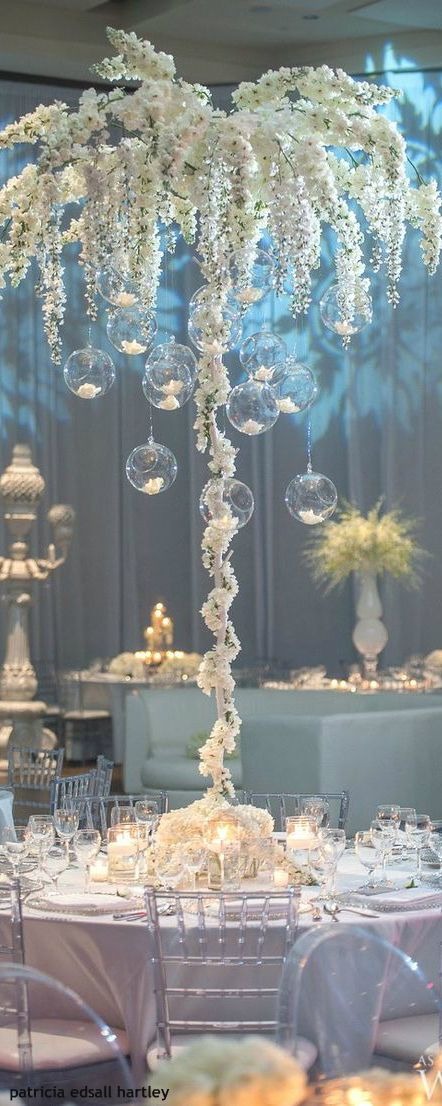 Amazing tall white centerpieces