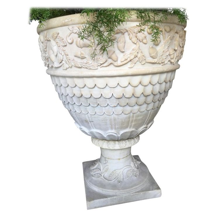 Pair of Large Grand Scale White Hand Carved Carrara Marble Garden Planters
