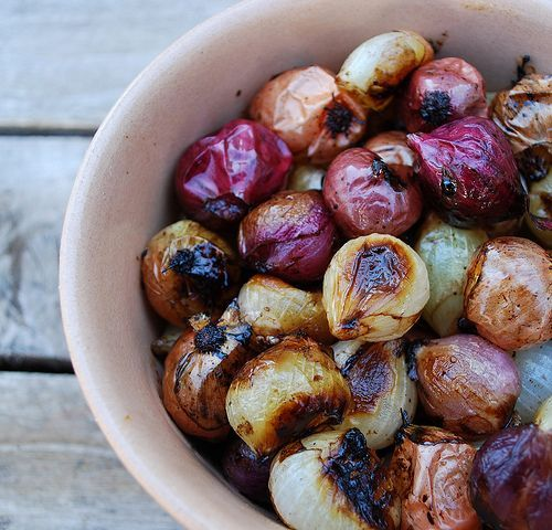 Balsamic Roasted Pearl Onions ~~ you can use fresh or frozen onions.  Would be good with a beef dish